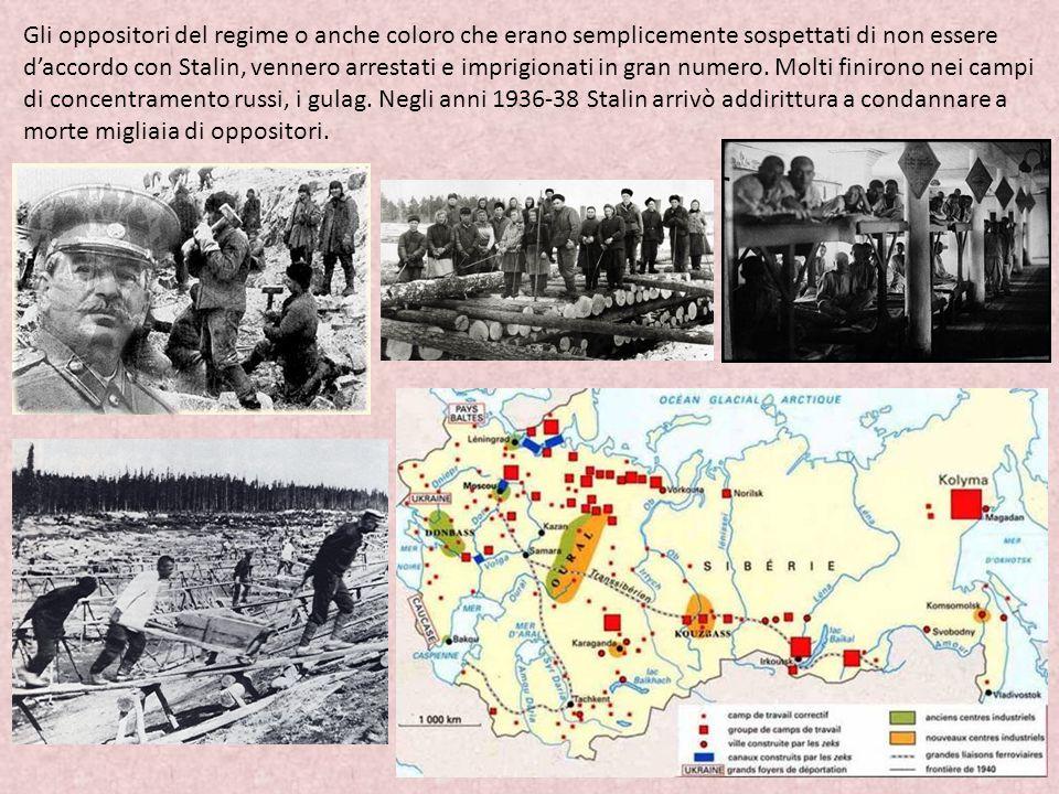 Gli oppositori del regime o anche coloro che erano semplicemente sospettati di non essere d'accordo con Stalin, vennero arrestati e imprigionati in gran numero.