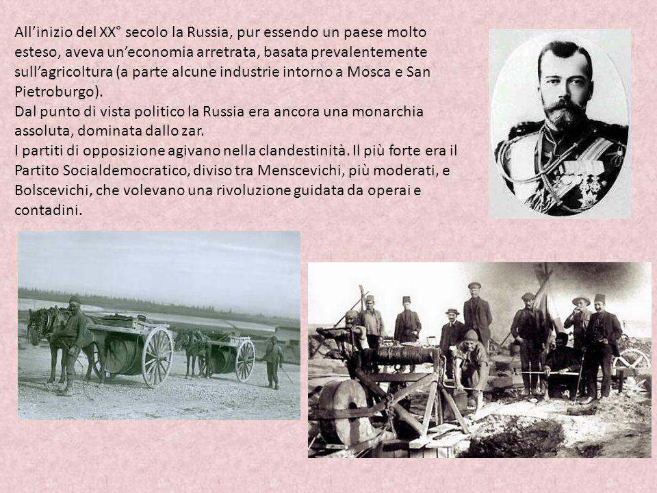 All'inizio del XX° secolo la Russia, pur essendo un paese molto esteso, aveva un'economia arretrata, basata prevalentemente sull'agricoltura (a parte alcune industrie intorno a Mosca e San Pietroburgo).