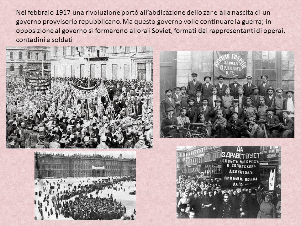 Nel febbraio 1917 una rivoluzione portò all'abdicazione dello zar e alla nascita di un governo provvisorio repubblicano.