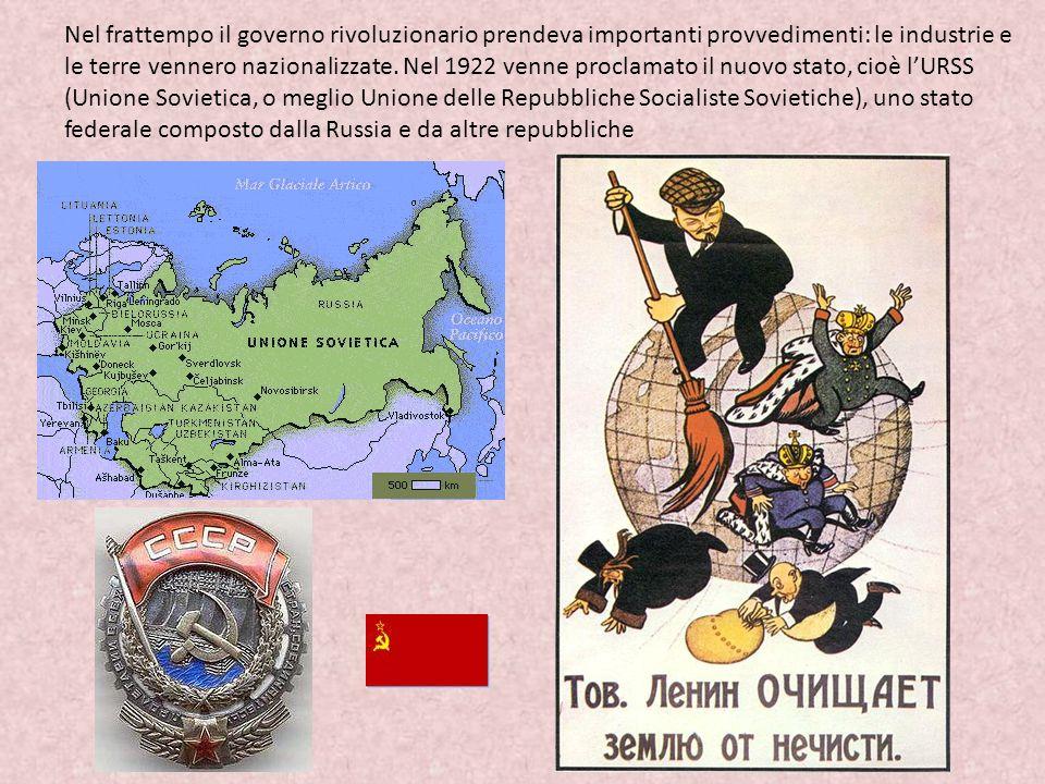 Nel frattempo il governo rivoluzionario prendeva importanti provvedimenti: le industrie e le terre vennero nazionalizzate.