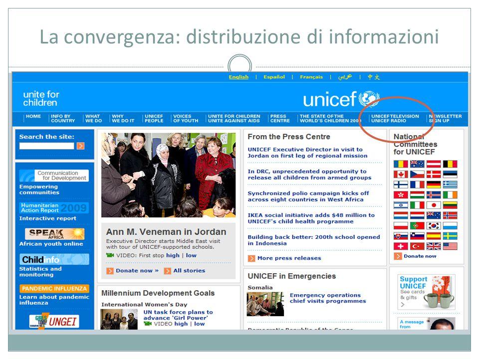 La convergenza: distribuzione di informazioni