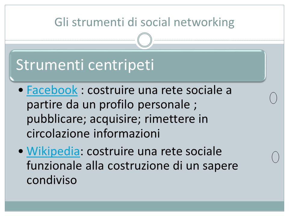 Gli strumenti di social networking