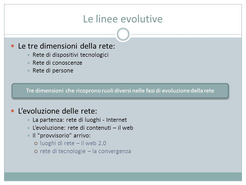 Le linee evolutive Le tre dimensioni della rete: