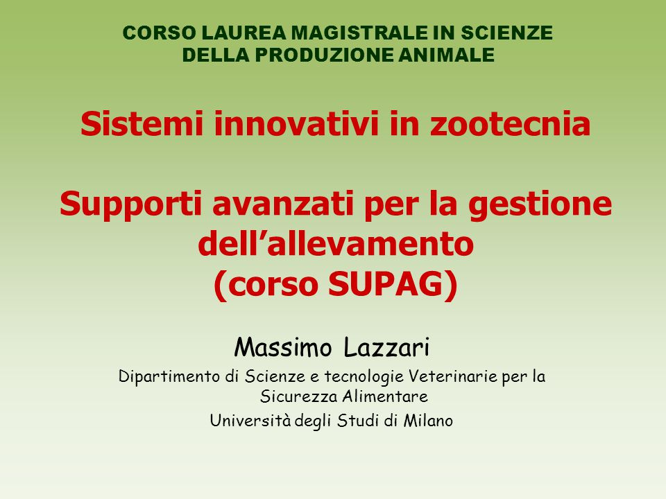 Sistemi innovativi in zootecnia