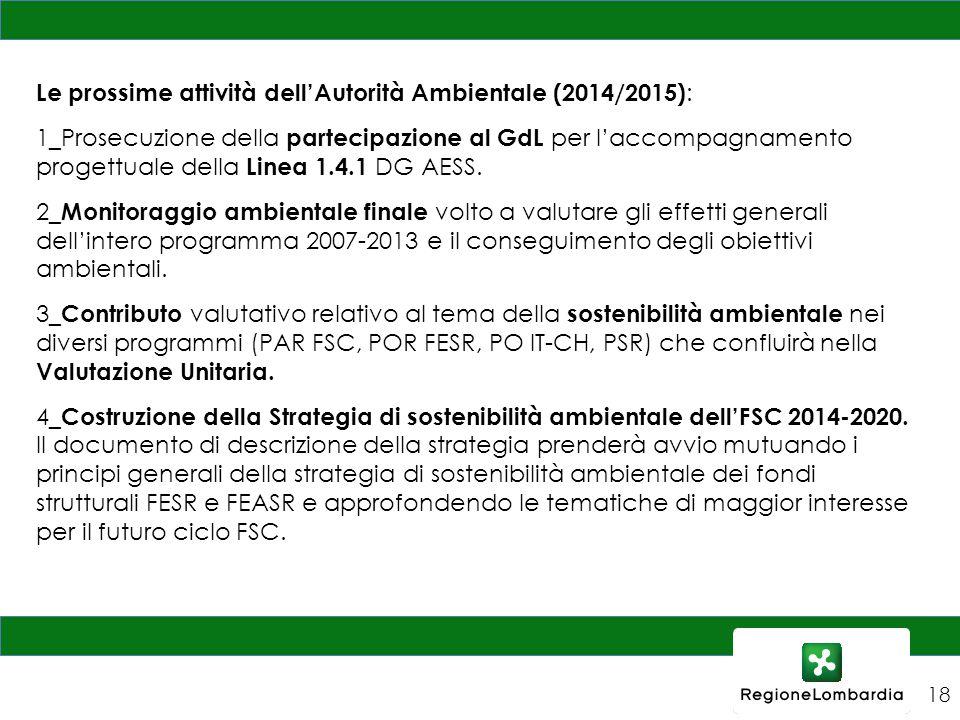 Le prossime attività dell'Autorità Ambientale (2014/2015):
