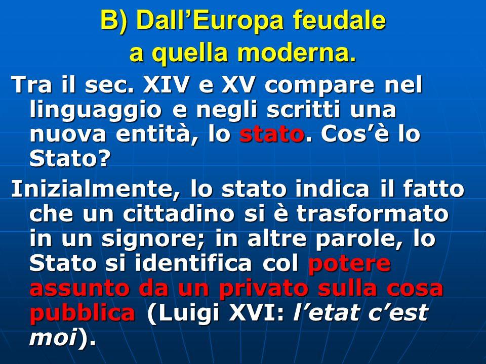 B) Dall'Europa feudale a quella moderna.