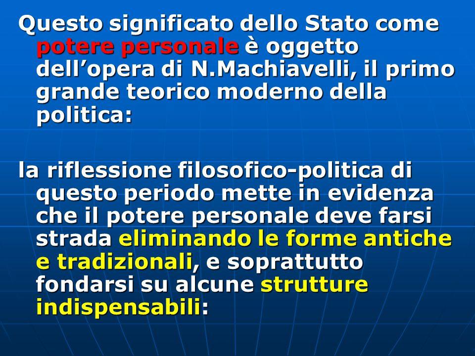 Questo significato dello Stato come potere personale è oggetto dell'opera di N.Machiavelli, il primo grande teorico moderno della politica: