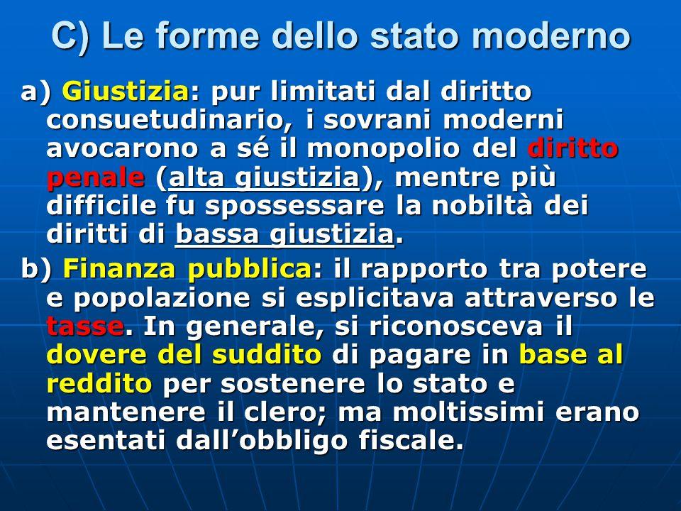 C) Le forme dello stato moderno