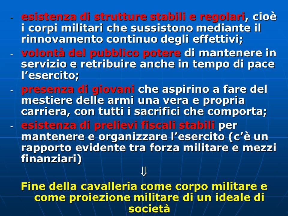 esistenza di strutture stabili e regolari, cioè i corpi militari che sussistono mediante il rinnovamento continuo degli effettivi;