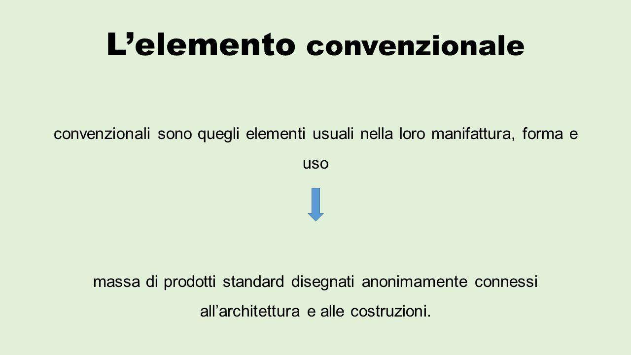 L'elemento convenzionale convenzionali sono quegli elementi usuali nella loro manifattura, forma e uso massa di prodotti standard disegnati anonimamente connessi all'architettura e alle costruzioni.