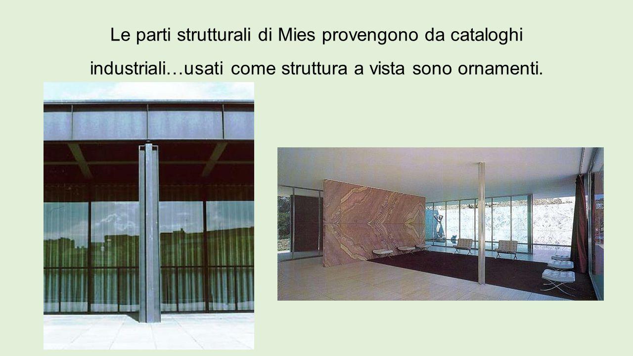 Le parti strutturali di Mies provengono da cataloghi industriali…usati come struttura a vista sono ornamenti.