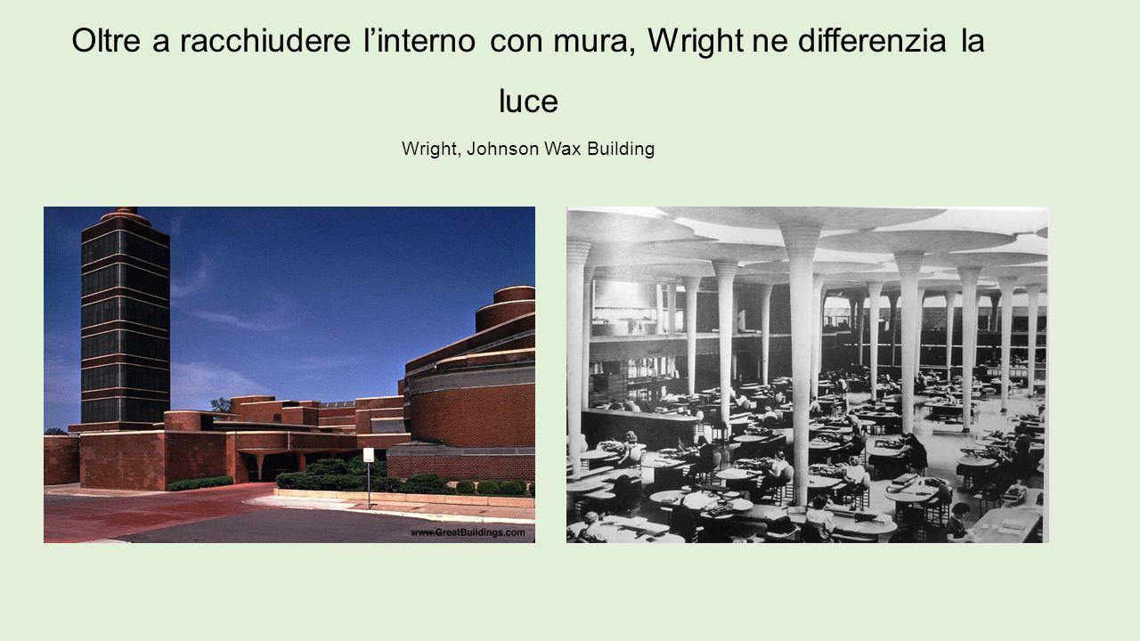 Oltre a racchiudere l'interno con mura, Wright ne differenzia la luce