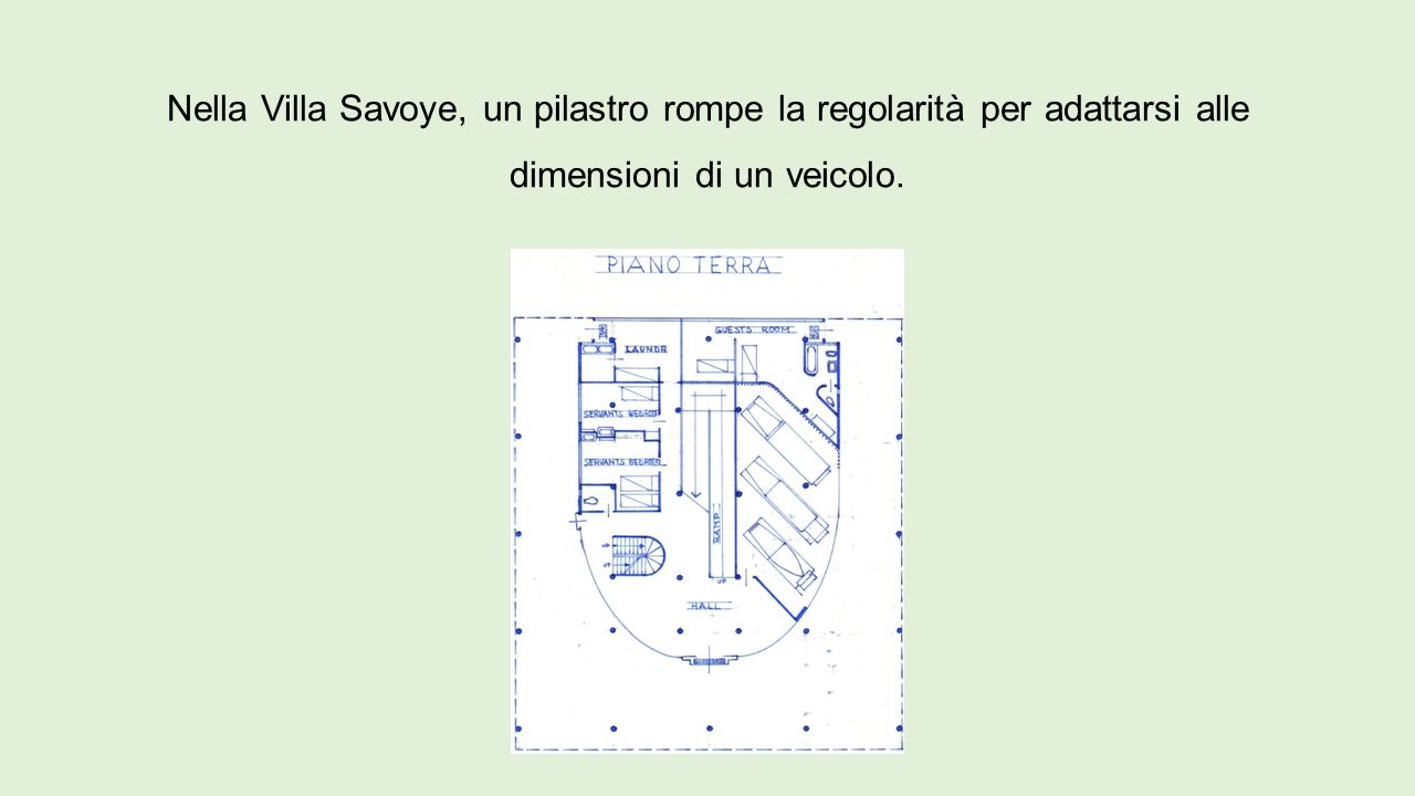 Nella Villa Savoye, un pilastro rompe la regolarità per adattarsi alle dimensioni di un veicolo.