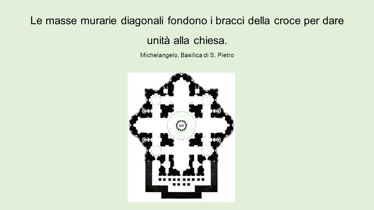 Le masse murarie diagonali fondono i bracci della croce per dare unità alla chiesa.