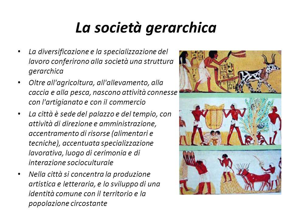 La società gerarchica La diversificazione e la specializzazione del lavoro conferirono alla società una struttura gerarchica.