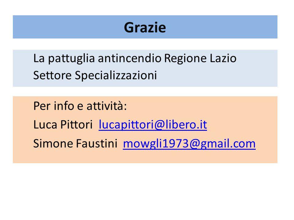 Grazie La pattuglia antincendio Regione Lazio Settore Specializzazioni