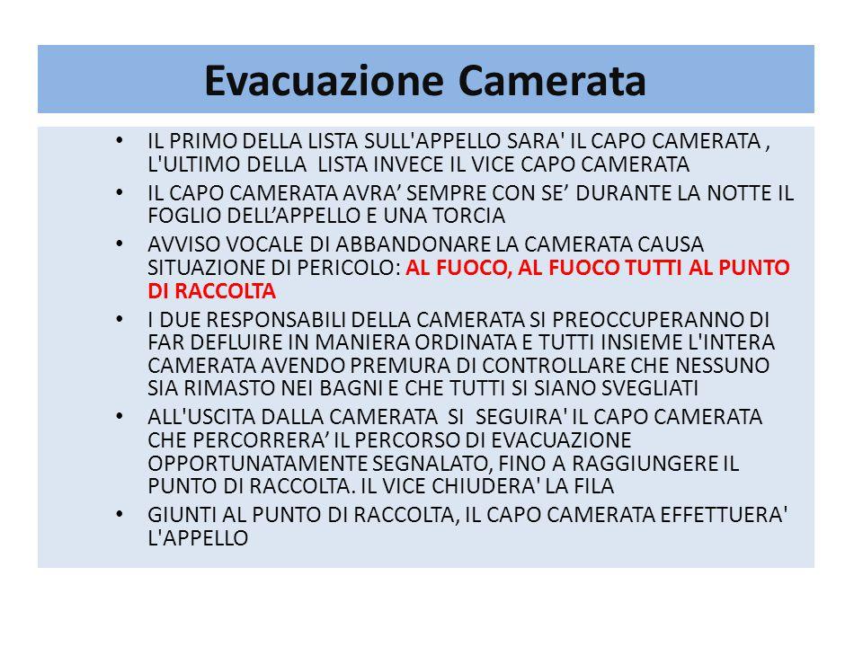 Evacuazione Camerata IL PRIMO DELLA LISTA SULL APPELLO SARA IL CAPO CAMERATA , L ULTIMO DELLA LISTA INVECE IL VICE CAPO CAMERATA.
