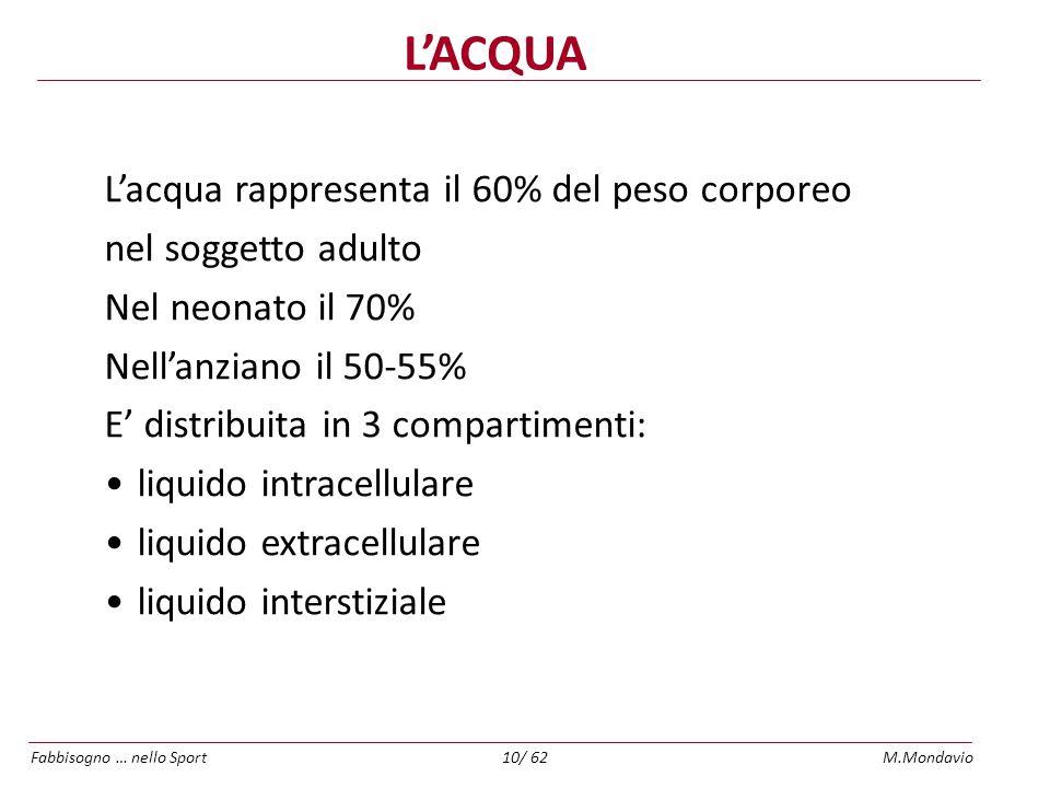 L'ACQUA L'acqua rappresenta il 60% del peso corporeo