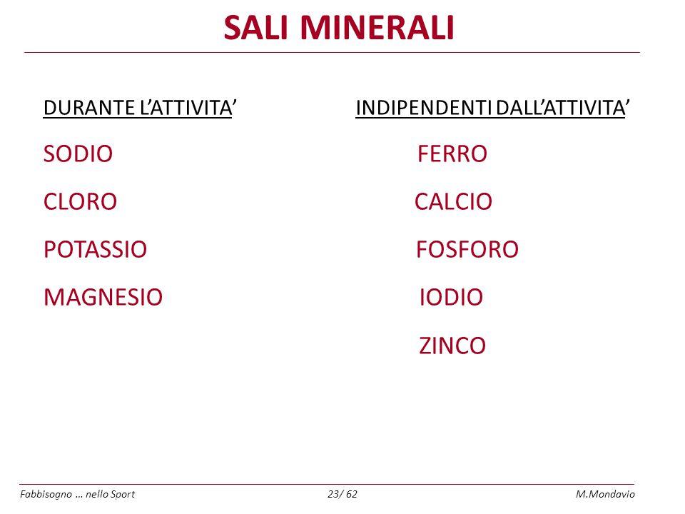 SALI MINERALI SODIO FERRO CLORO CALCIO POTASSIO FOSFORO MAGNESIO IODIO