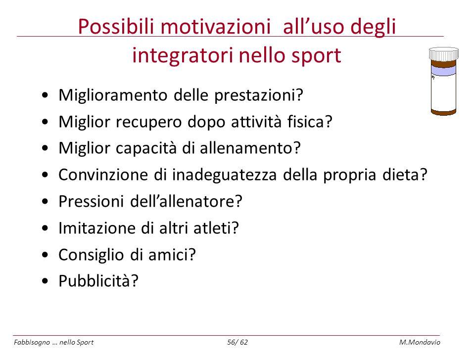Possibili motivazioni all'uso degli integratori nello sport