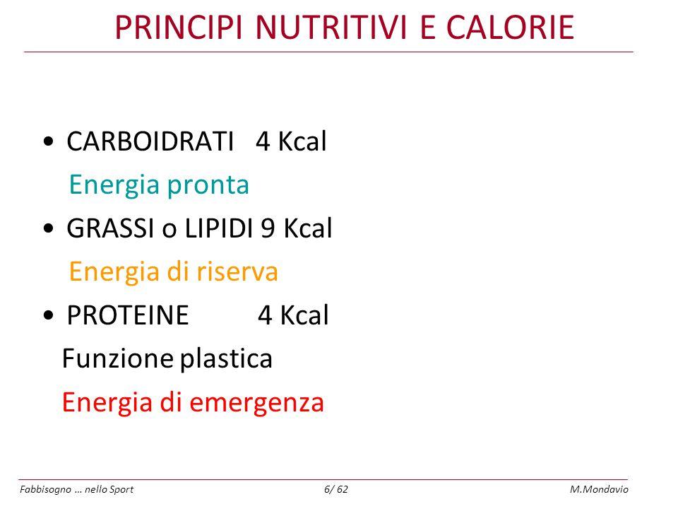 PRINCIPI NUTRITIVI E CALORIE