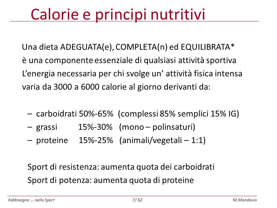Calorie e principi nutritivi