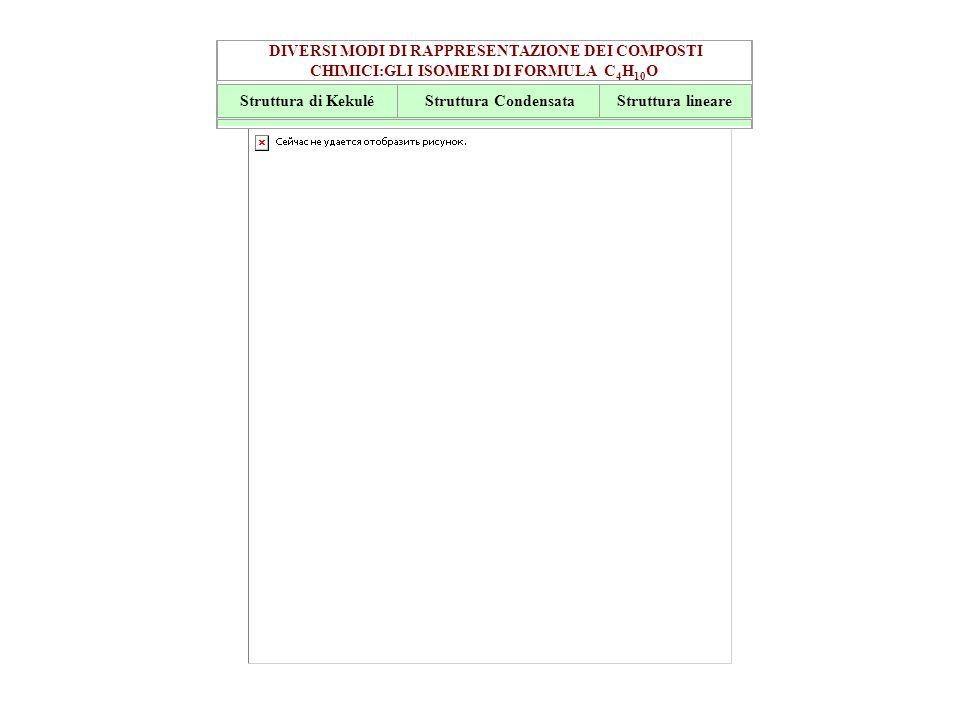 DIVERSI MODI DI RAPPRESENTAZIONE DEI COMPOSTI CHIMICI:GLI ISOMERI DI FORMULA C4H10O