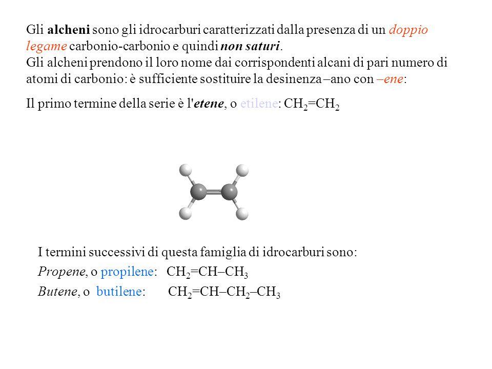 Gli alcheni sono gli idrocarburi caratterizzati dalla presenza di un doppio legame carbonio-carbonio e quindi non saturi. Gli alcheni prendono il loro nome dai corrispondenti alcani di pari numero di atomi di carbonio: è sufficiente sostituire la desinenza –ano con –ene: