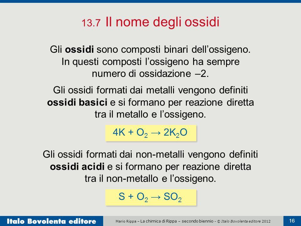 13.7 Il nome degli ossidi Gli ossidi sono composti binari dell'ossigeno. In questi composti l'ossigeno ha sempre numero di ossidazione –2.