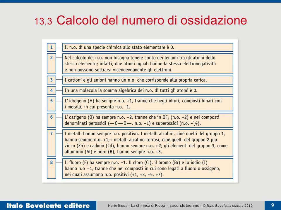 13.3 Calcolo del numero di ossidazione