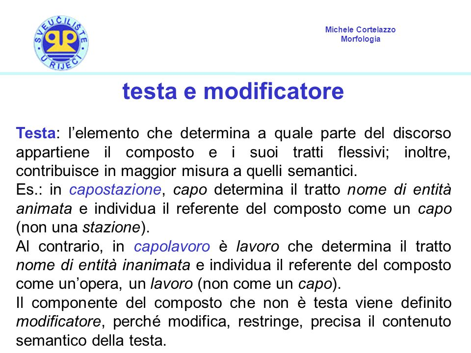 testa e modificatore