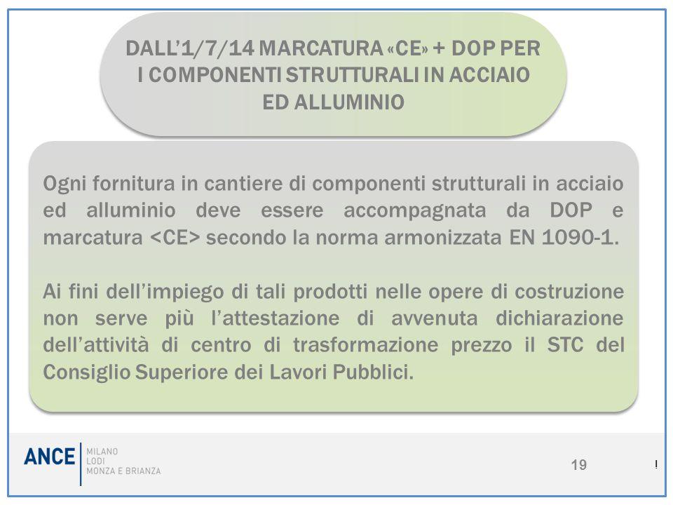 DALL'1/7/14 MARCATURA «CE» + DOP PER