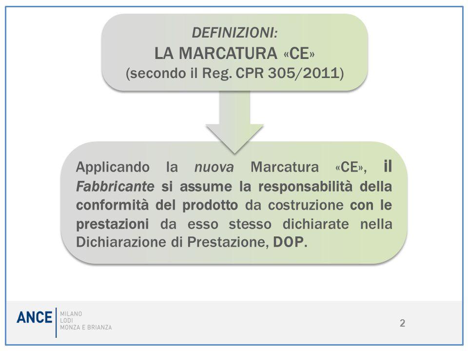 LA MARCATURA «CE» DEFINIZIONI: (secondo il Reg. CPR 305/2011)