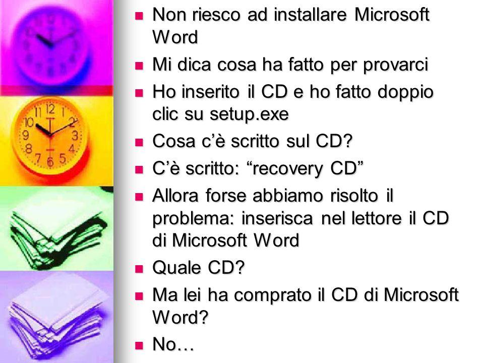 Non riesco ad installare Microsoft Word