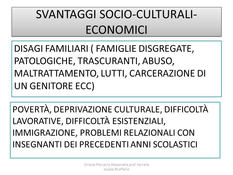SVANTAGGI SOCIO-CULTURALI-ECONOMICI