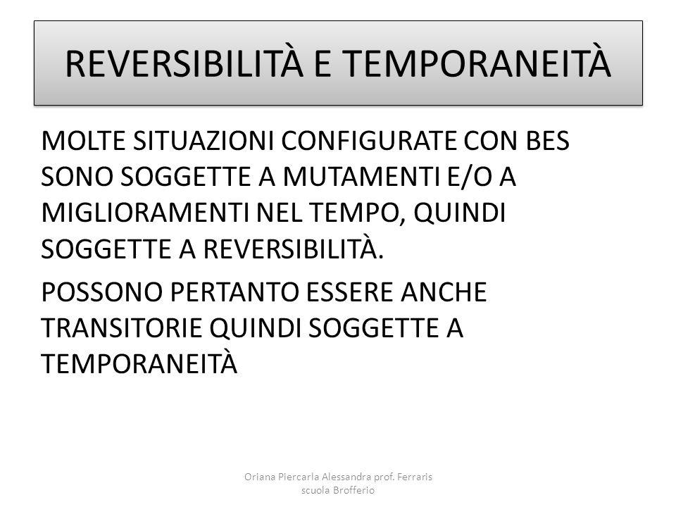 REVERSIBILITÀ E TEMPORANEITÀ