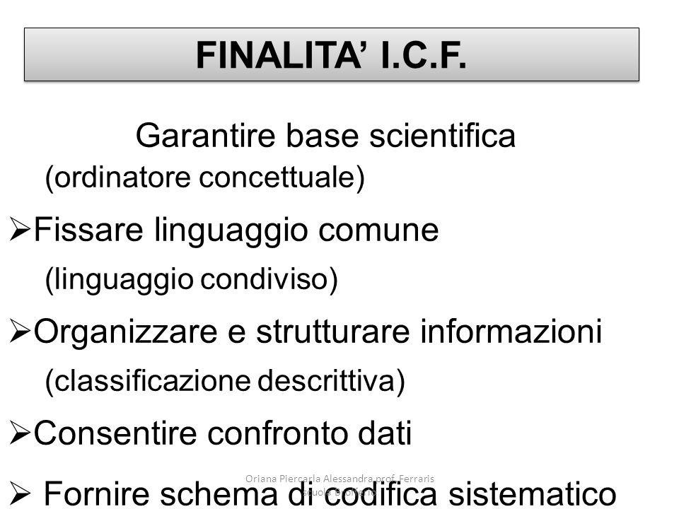 FINALITA' I.C.F. Garantire base scientifica (ordinatore concettuale)