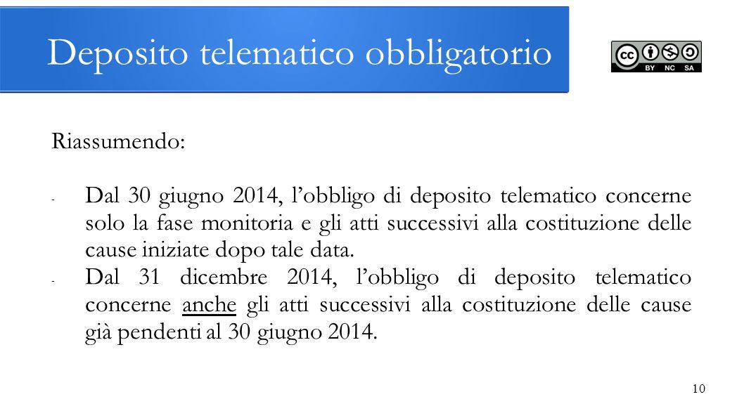 Deposito telematico obbligatorio