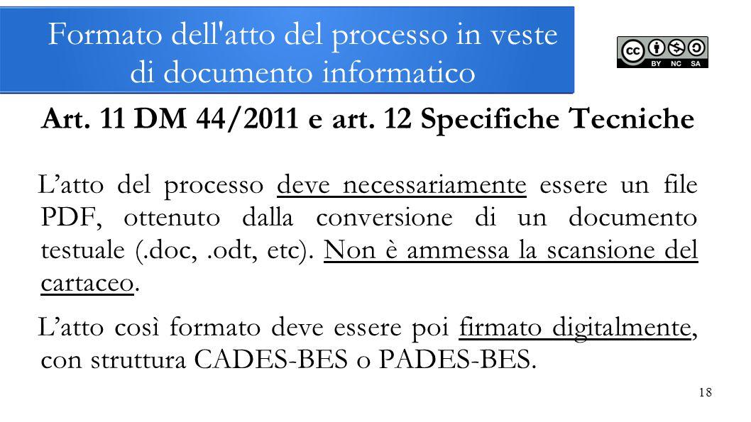 Formato dell atto del processo in veste di documento informatico