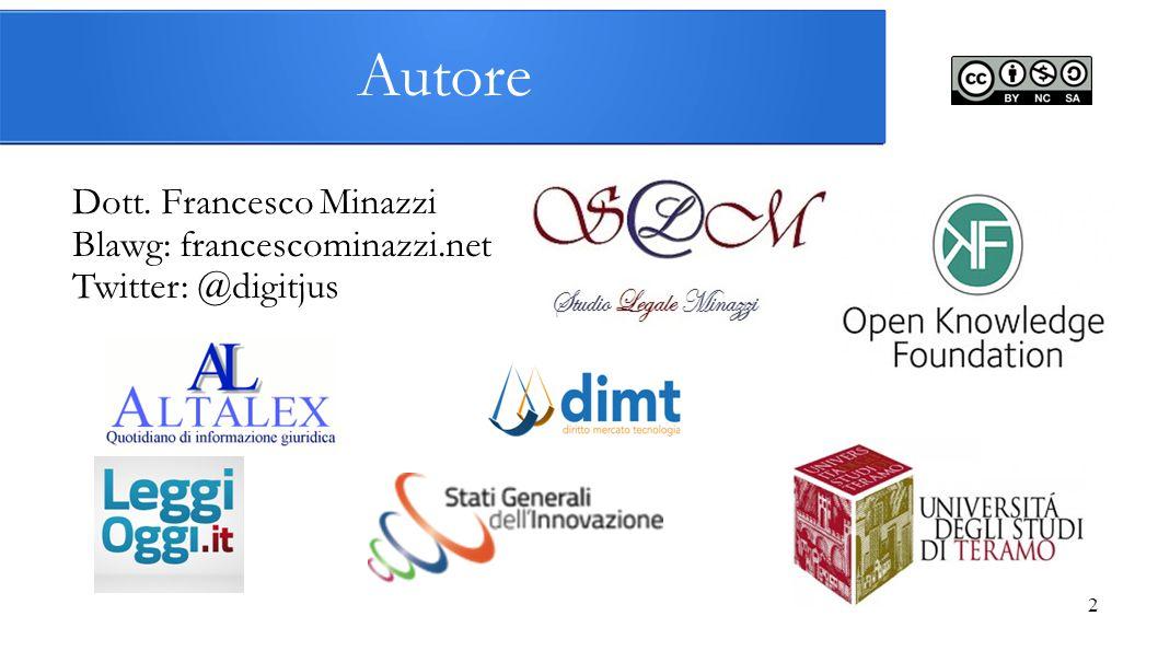 Autore Dott. Francesco Minazzi Blawg: francescominazzi.net Twitter: @digitjus