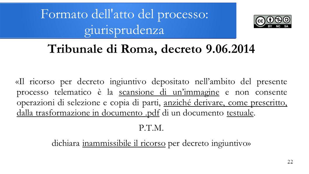 Formato dell atto del processo: giurisprudenza