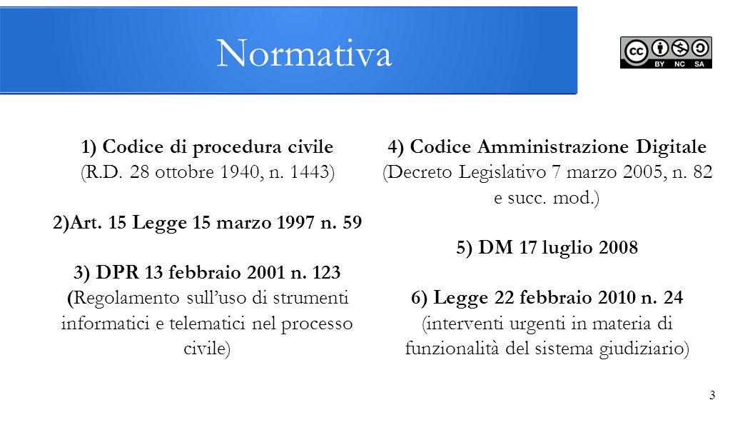 1) Codice di procedura civile 4) Codice Amministrazione Digitale