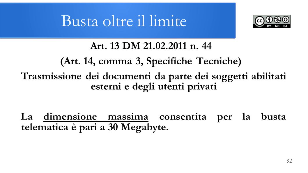 (Art. 14, comma 3, Specifiche Tecniche)