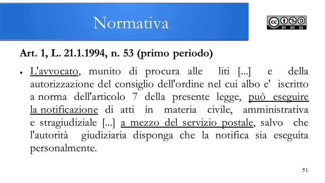 Normativa Art. 1, L. 21.1.1994, n. 53 (primo periodo)
