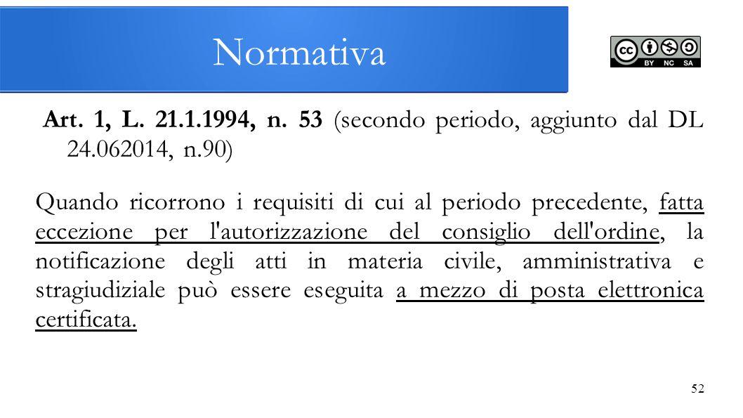 Normativa Art. 1, L. 21.1.1994, n. 53 (secondo periodo, aggiunto dal DL 24.062014, n.90)