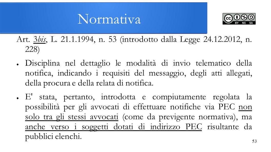 Normativa Art. 3bis, L. 21.1.1994, n. 53 (introdotto dalla Legge 24.12.2012, n. 228)