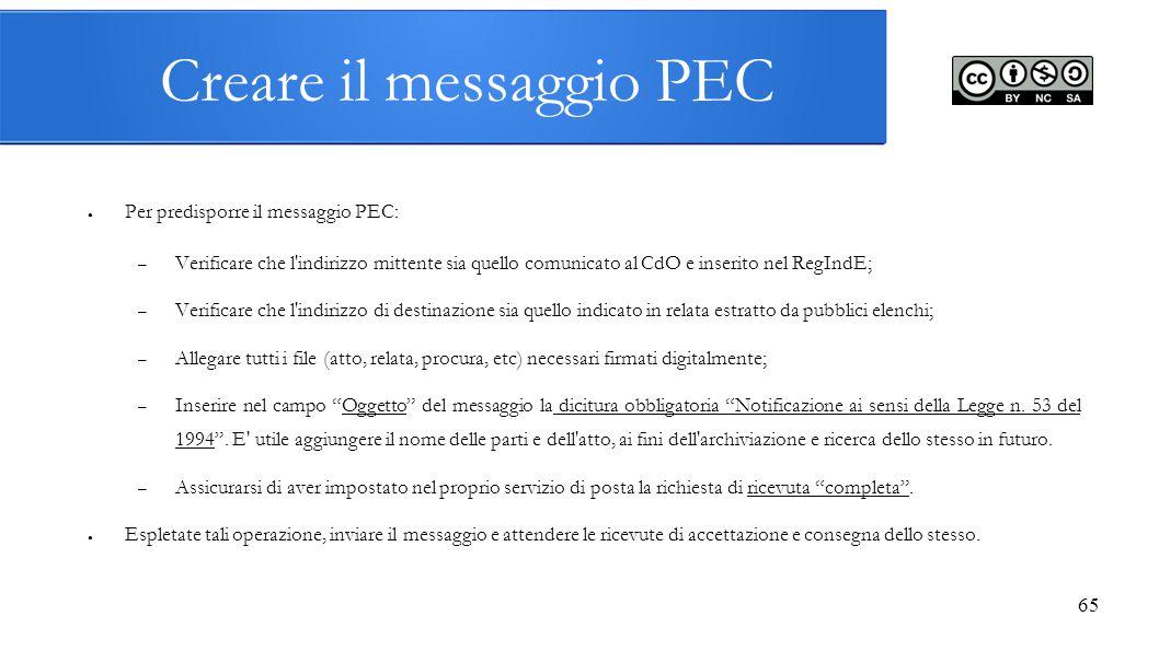 Creare il messaggio PEC