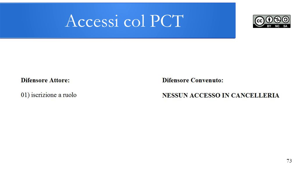 Accessi col PCT