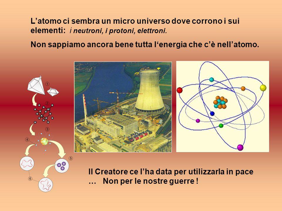 L'atomo ci sembra un micro universo dove corrono i sui elementi: i neutroni, i protoni, elettroni.