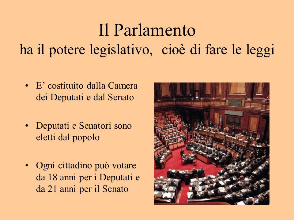 Il Parlamento ha il potere legislativo, cioè di fare le leggi